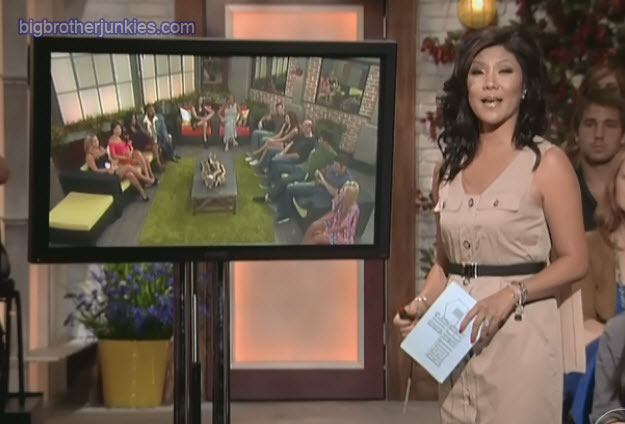 Julie Chen wearing a cape